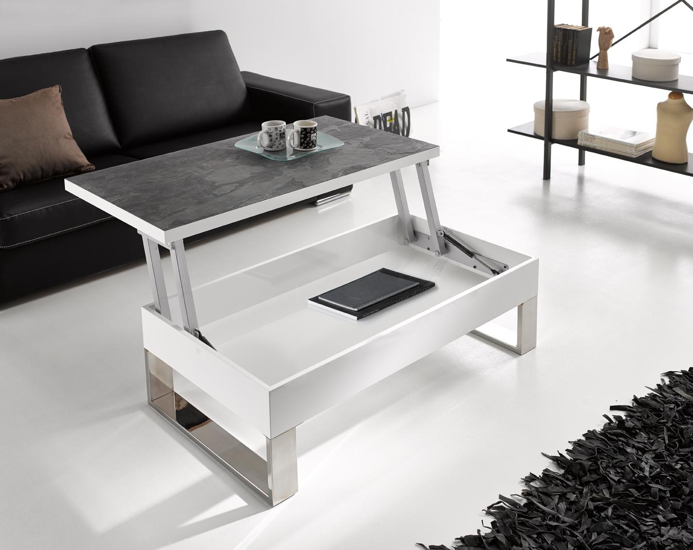 Comprar mesas de centro blancas - Mesa de centro con puff ...