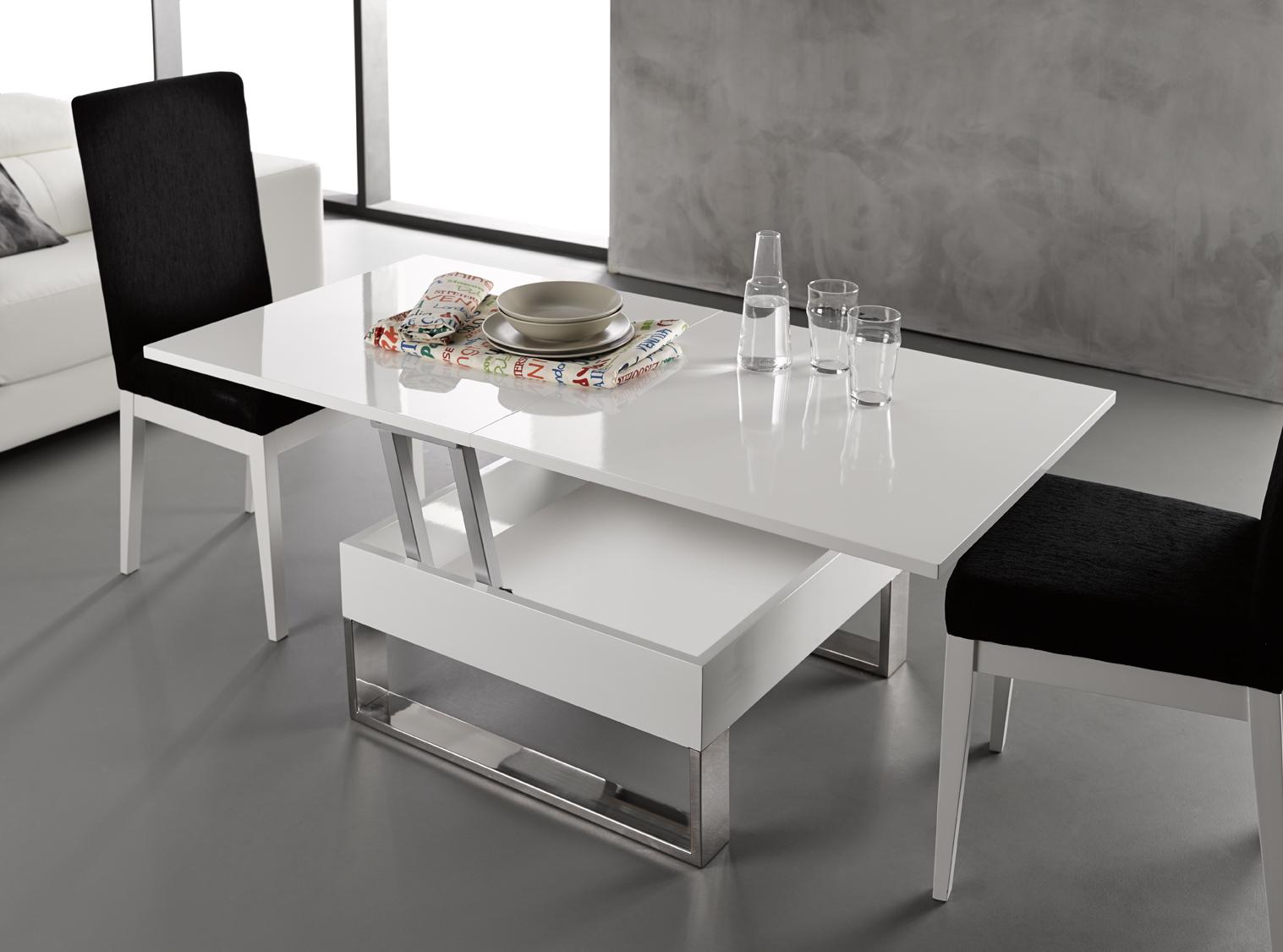 Mesa de centro blanca elevabl y extensible online de alta calidad - Mesa salon extensible ...