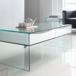 mesa de centro de cristal y madera lacada en blanco
