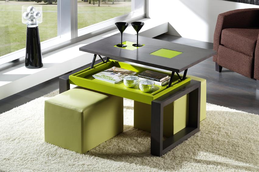mesas de centro de cristal y acero