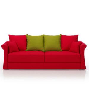 Sofá cama rojo de 3 plazas