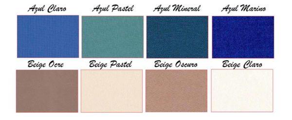 Colores del tejido: azul, beige