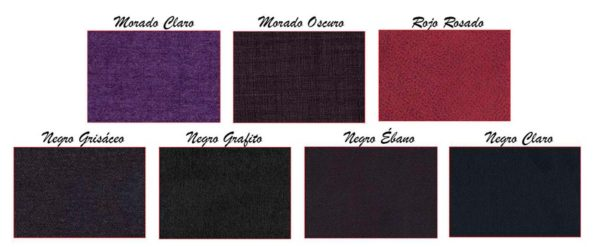 Colores del tejido: negro, violeta