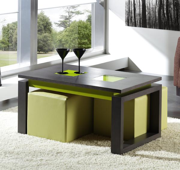 Estilos de decoración, mesa de centro color ceniza y verde