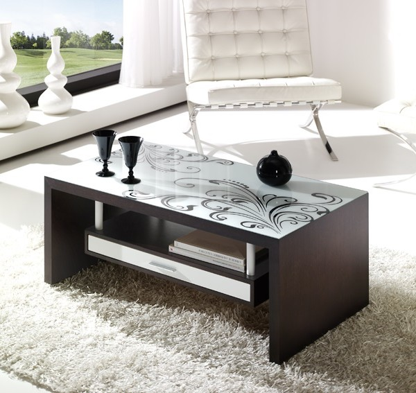 mesas de centro con cristal impreso - lamesadecentro