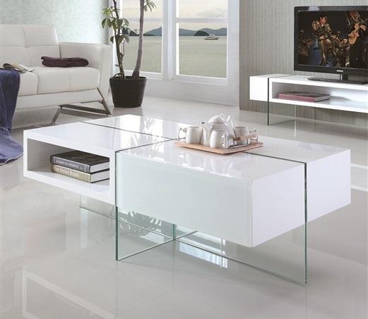 Mesa de dise o blanca de madera y cristal la mesa de centro for Mesa de centro blanca