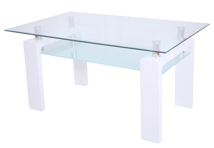 Mesa de diseño blanca de madera y cristal - La Mesa de Centro