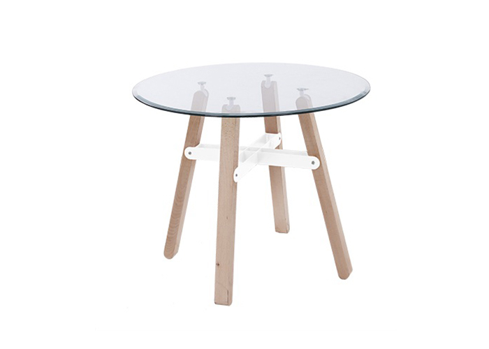 Mesas auxiliares cristal con patas de madera la mesa de - Patas para mesa de cristal ...