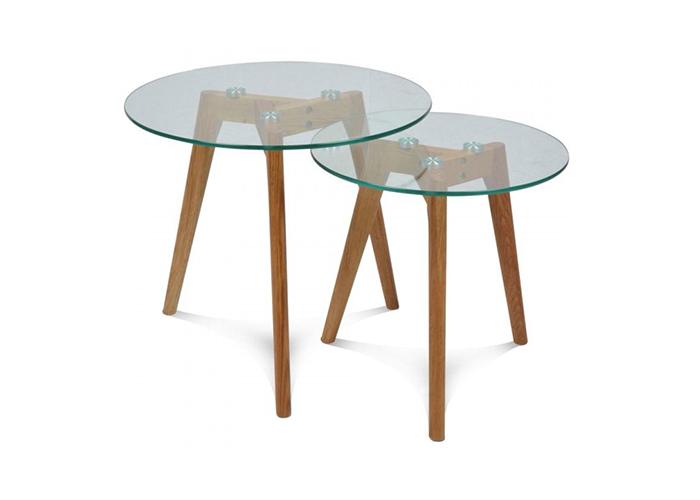 Mesas auxiliares de cristal 2 mesas nido la mesa de centro - Mesitas auxiliares de cristal ...