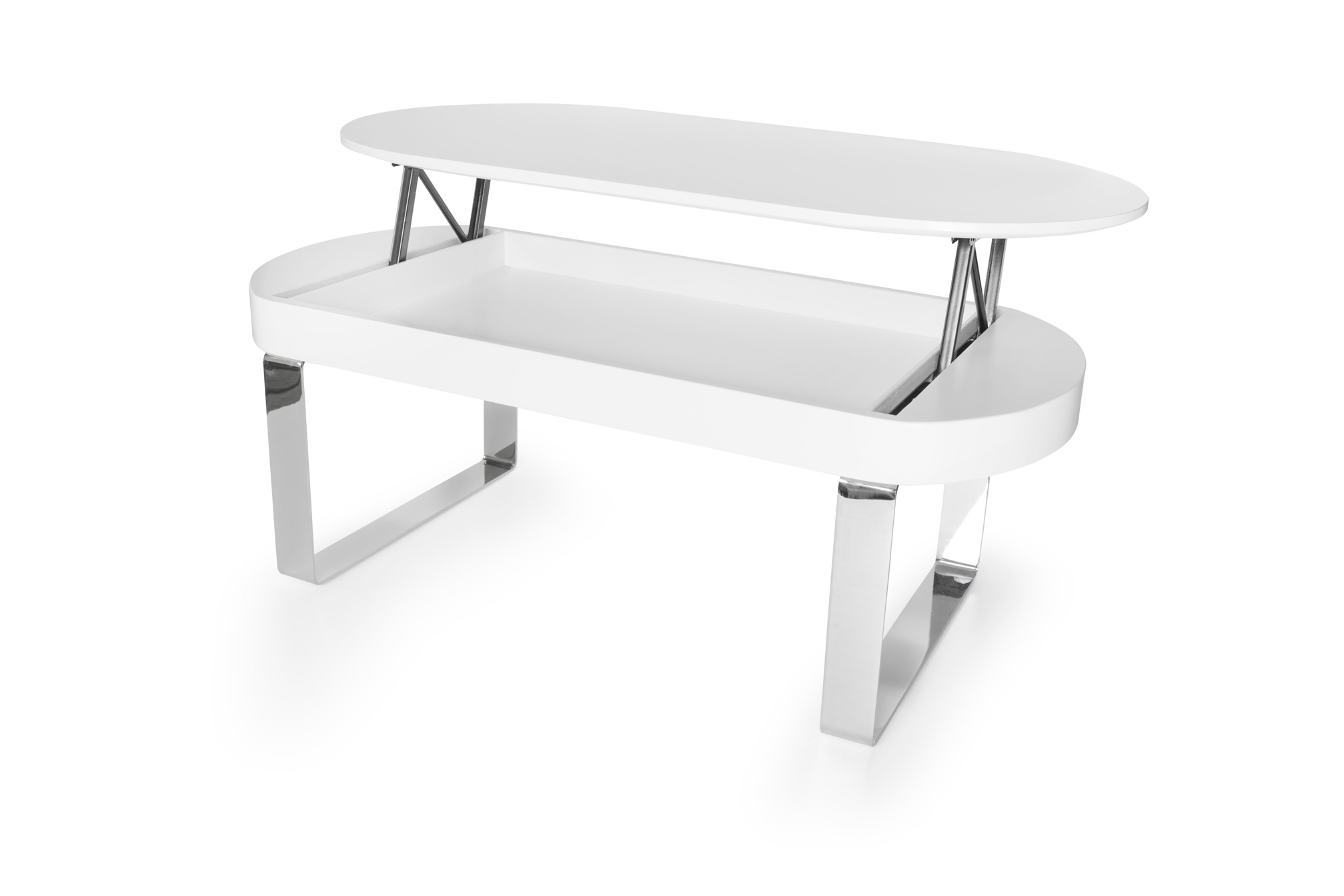 Mesa centro ovalada blanca elevable la mesa de centro for Mesas de salon blancas