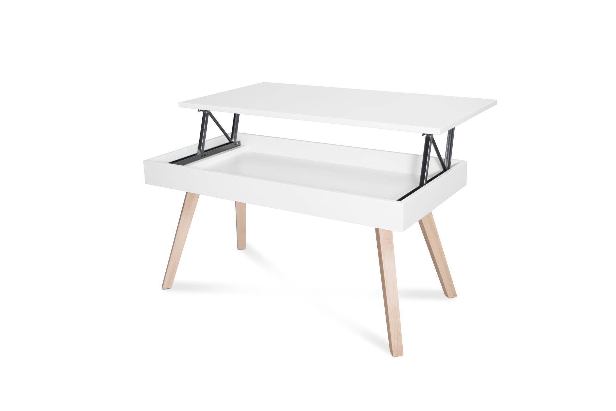 Mesa de centro elevable blanca tienda online de mesas de for Mesa blanca y madera