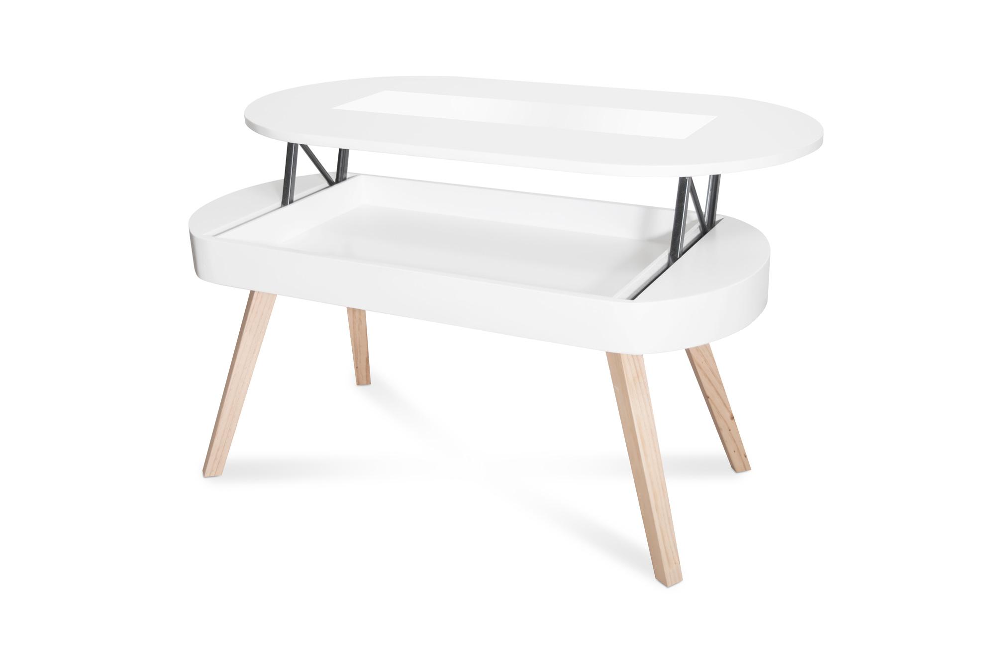 Mesa de centro ovalada blanca elevable tienda online for Mesas de centro metalicas