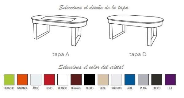 diseño tapa mesa de centro elevable ovalada