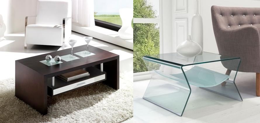 Mesas de centro de madera o cristal