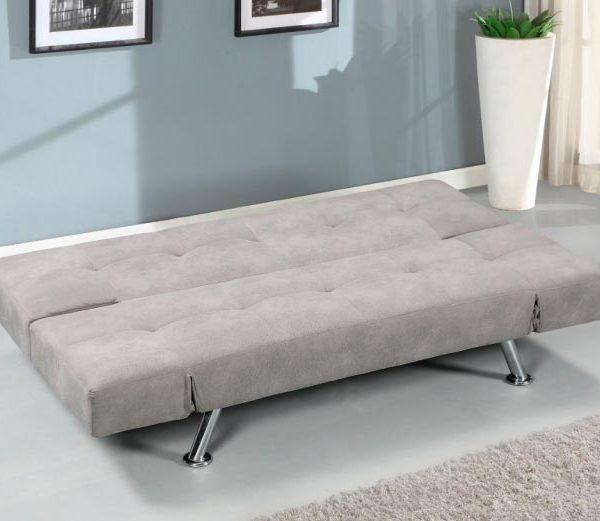 Sofá cama clic clac abierto, color gris marengo y brazos articulados
