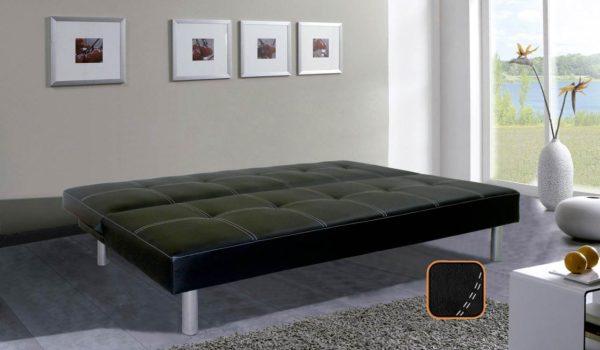 Sofá clic clac cama abierto color negro
