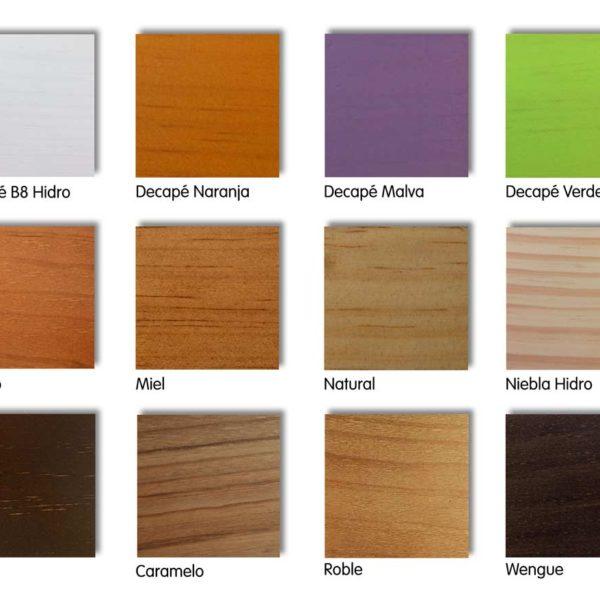 Literas de madera de pino, acabados y colores