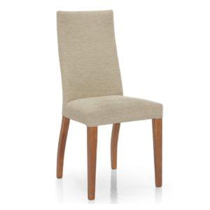 Silla de comedor elegante, con asiento tapizado y madera de pino. Direrentes colores de barniz.