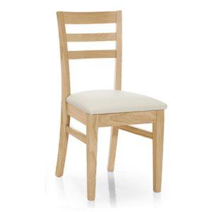Sillas para comedor económicas, asiento tapizado, madera de pino.