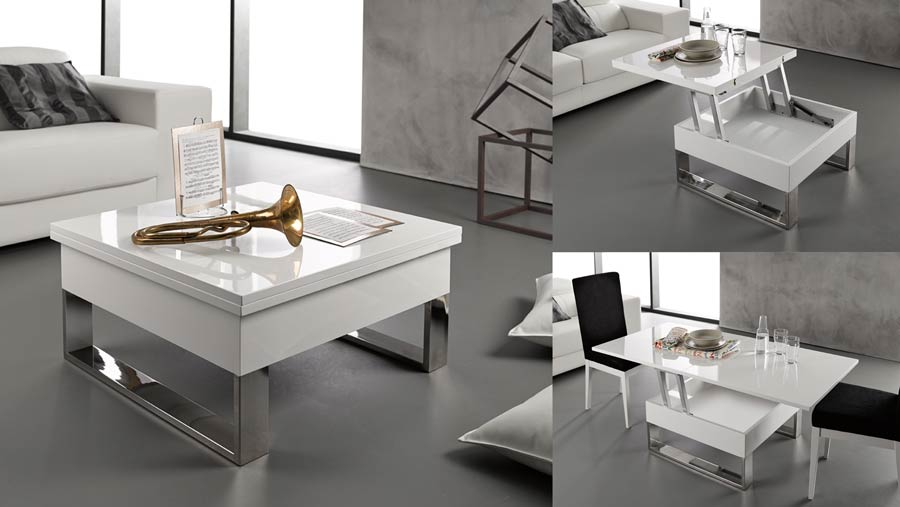 Mesa de centro elevable y extensible blanca